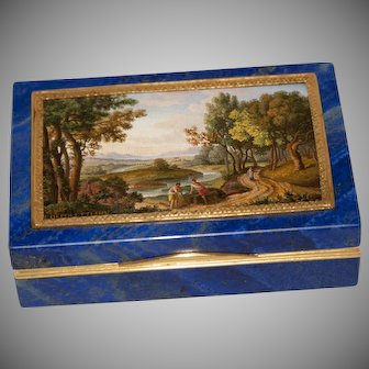 Museum quality micromosaic signed DEPOLETTI on lapis lazuli box