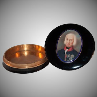 Rare snuff box with miniature of Ferdinand IV of Bourbon King of Naples and Sicily