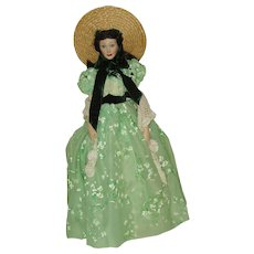 """1985 Franklin Heirloom Doll Scarlet O'Hara  19"""" Bisque"""