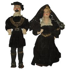 Vintage  Couple Costume Dolls  Spain Hand Made Cloth And Pottery
