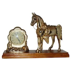 Vintage  Cast Metal Horse Clock On Base Circa 1950-Works Well