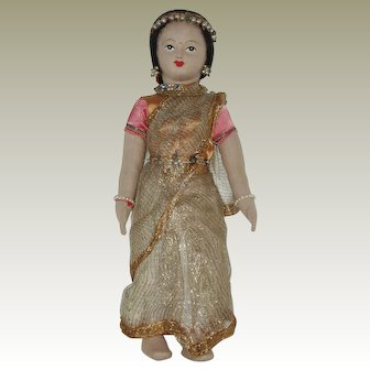 Vintage  Cloth Foreign Ethnic Costume Doll From India