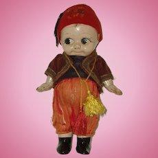"""10"""" Antique Composition Kewpi Style  Doll Circa 1910-1920"""