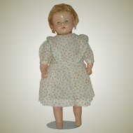 "Vintage 15"" Composition and Cloth Doll  Circa 1930's"
