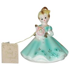 "Vintage 4"" Ceramic Josef Original June Birthday Figurine Circa 1950"