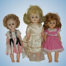3 Little Hard Plastic Dolls From The 50's