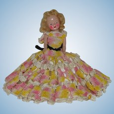 """Vintage 71/2"""" Dress Me Doll In Hand Crocheted Dress Circa 1945"""