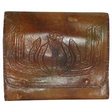 Vintage Victorian  Tooled Leather Travel Vanity Set