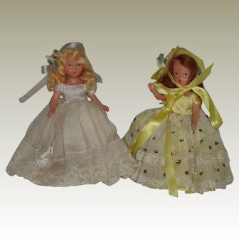 """2  61/2"""" Painted Bisque Nancy Ann Story Book Dolls"""