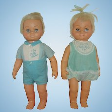 Vintage Talking Tiny Chatty Baby And Tiny Chatty Brother Mattel 1962-1964