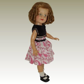 "19"" Vinyl  Shirley Temple Doll In Original Tagged Dress Circa 1958-1960"