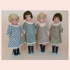 4 Papier Mache' Sisters 11.5 inches Tall - All Original - Un-played with Condition - c.1920