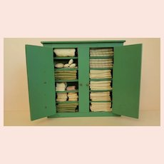 Vintage Doll Linen Closet filled with Linens 9.25 inches X 9.75 inches