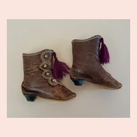 Antique French Fashion Boots 2-7/8 inches long Size 4 c.1870s