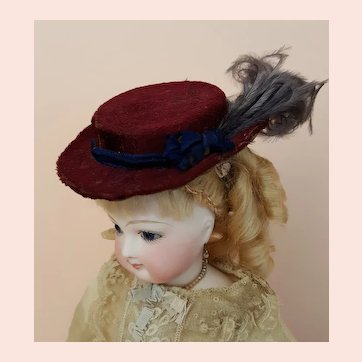 Authentic Antique French Fashion Hat with Feather