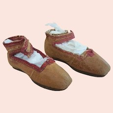 Early Hand Cobbled Doll Shoes  c.1850s - 3.125 inches long