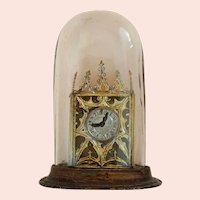 Miniature Doll House - Glass Dome Mantel Clock - 2.25 inches Tall
