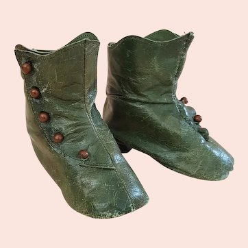 Rare - Antique Emerald Green German Boots - 3.25 inches Long
