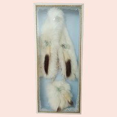 French Fashion Rabbit Fur Stole and Muff in Presentation Box