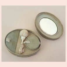 Antique French Fashion Powder Box with Mirror and Accessories c.1870s