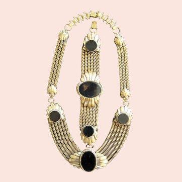 Vintage Art Deco Necklace - Bracelet - Brooch Set