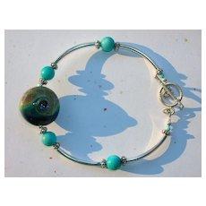 """Elegant Lampwork Beaded Bracelet """"Beach Sand"""" 7 1/2"""""""