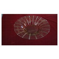 Etched Ribbed Amber Glass Footed Center Bowl