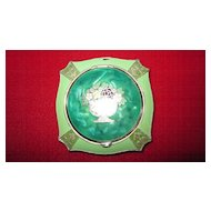 Green/Green Marbleized Enamel Cloisonne Compact/Rouge Pot