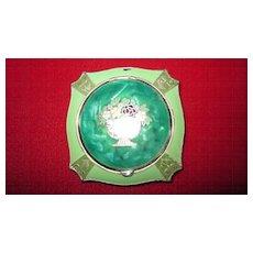 Green/Green Marbleized Enamel Cloisonne Compact/Rouge Pot