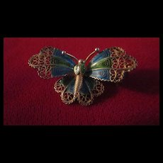 10K Gold Filigree and Enamel Butterfly Pin