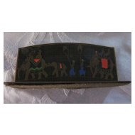 Brass and Enamel Bridge Card Holder with Indian Elephant Parade