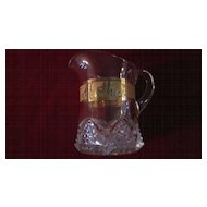"""EAPG Buttons and Arches Creamer, Gold Band, Inscribed  """"Mother"""""""