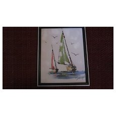 Framed Oil on Canvas Sail Boats by Gauvot
