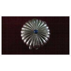 Estee Lauder Round Scalloped Silver Tone Solid Perfume Compact