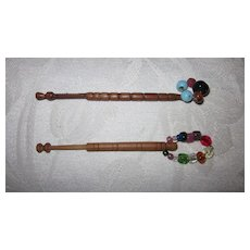 Pair Lace Maker's Turned Wood Bobbins with Blown Glass Beads