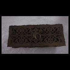 Vintage Hand Cut Fret Work Teak Glove Box