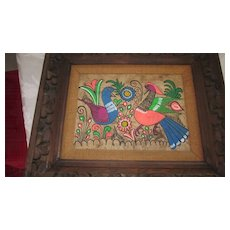 "Mexican Amate Bark Painting in Hand Carved Frame, 16"" X 20"""