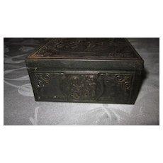 Rectangular Metal Cigarette/Trinket Box with Cherub Decoration
