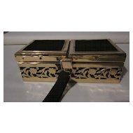Tyrolean Filigree Brass Frame Black Velvet Box Purse/Carryall