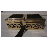 Tyrolean Filigree Brass Frame Black Velvet Box Purse/Carryall
