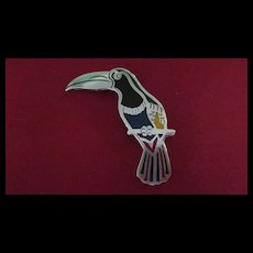 Mexican Sterling and Enamel Toucan Pin