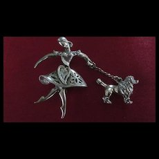 Dancing Woman and French Poodle Brooch