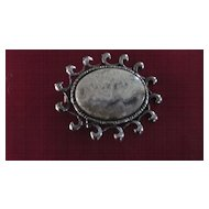Grey Agate Oval Pin/Pendant