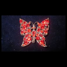 Red Stone Butterfly Pin