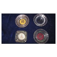 Vintage Casino Ashtrays, Glass, Set of 4