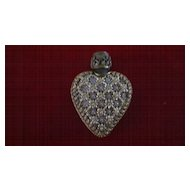 Victorian Small Heart Shaped Perfume Bottle with Gold Filigree