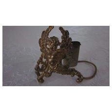 Gold Plated Tin Cherub Figural Toothpick Holder