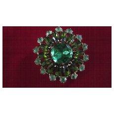 Green/Green/Green Large Rhinestone Brooch