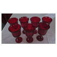 Set of 7 Ruby Red, 8 oz. Wine Goblets
