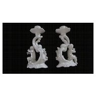 """Pair Cupid White Porcelain Italian 7"""" X 4"""" Candle Holders"""